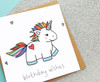 Rainbow Unicorn Birthday Card Kawaii