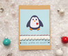 Romantic Christmas Card Handmade Penguin
