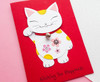 Handmade lucky cat card maneki neko