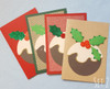 Pack of 4 Christmas Pudding Handmade Cards