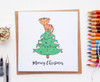 Funny Cat Christmas Card Hand Drawn
