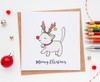 Cute Cat Christmas Card Santa's Little Helper