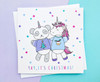 Panda and Unicorn Christmas Card Kawaii