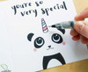 Glitter Unicorn-Panda Birthday Card