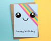 Rainbow Kawaii Face Birthday Card