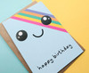 Rainbow Birthday Card Kawaii Face