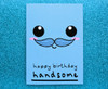 Cute Boyfriend Birthday Card  Moustache Smiley Face
