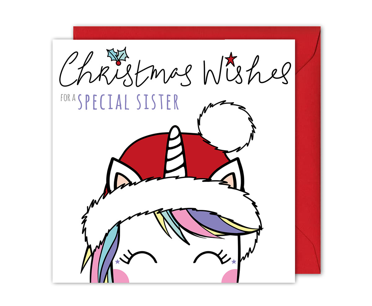 Magical Unicorn Sister Christmas Card