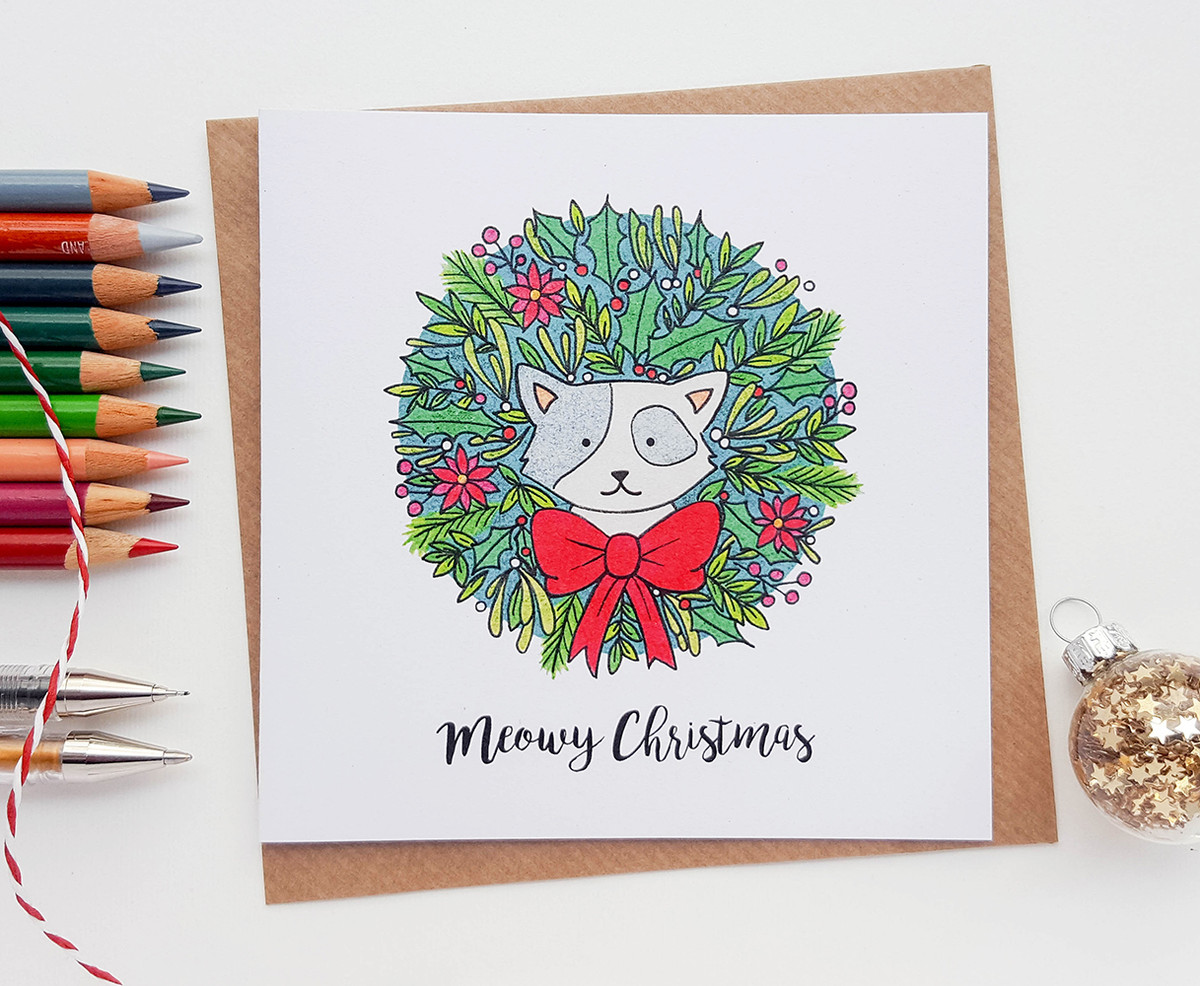 Christmas Cat Card - Kitty Wreath