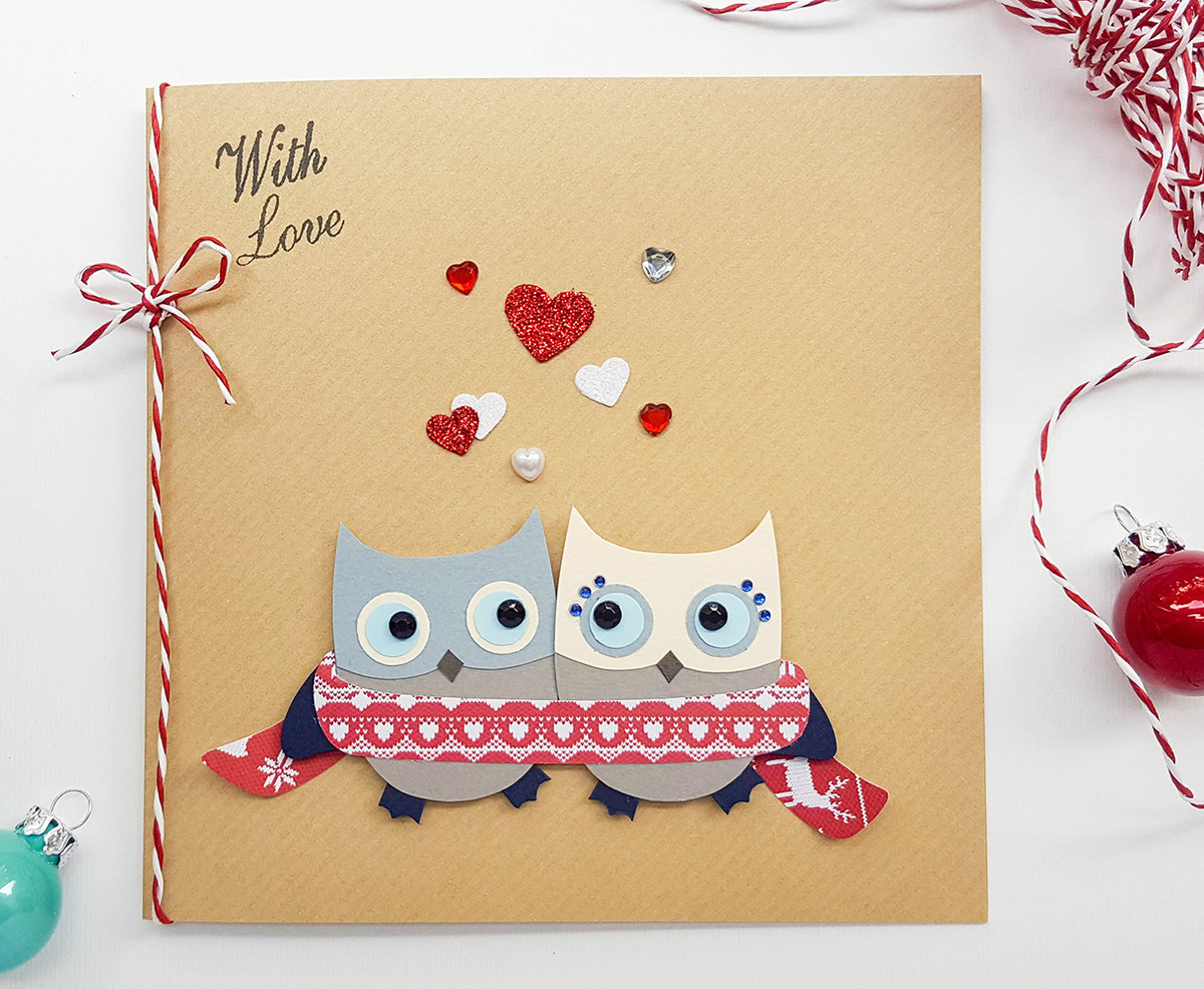 Christmas Card Images Handmade.Personalised Handmade Cosy Owls Christmas Card