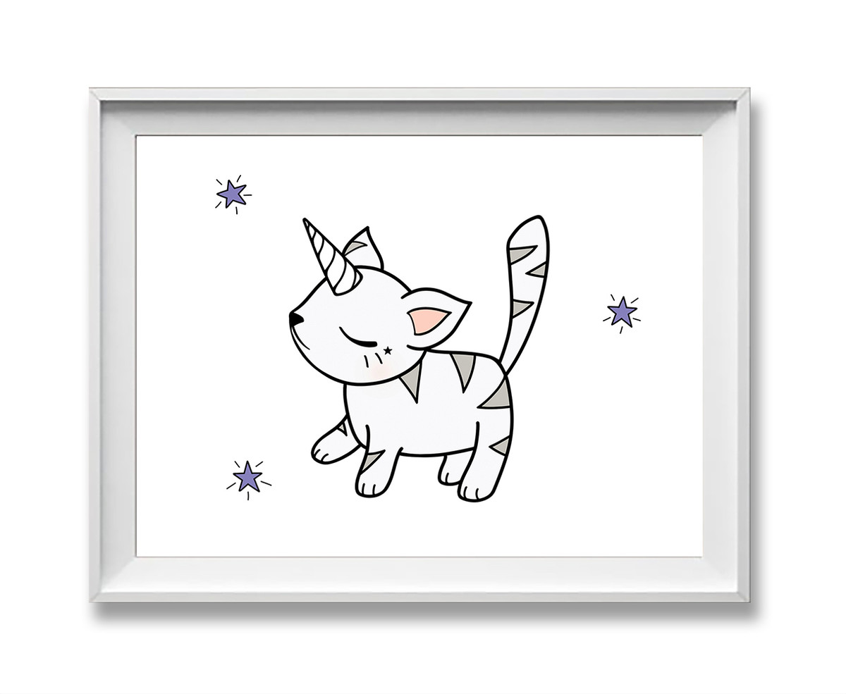 cute cat art print - caticorn / unikitty