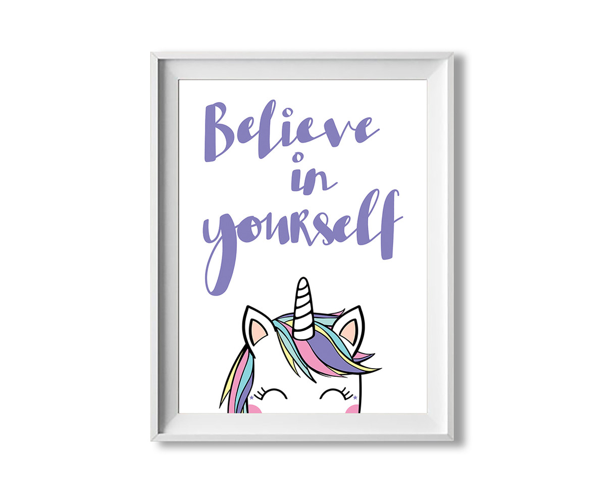 unicorn print - believe in yourself - inspirational wall art