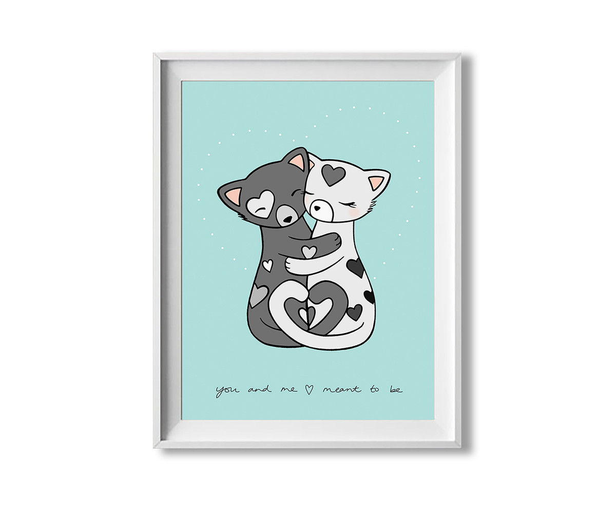 Love wall art - cute cats - romantic gift for her / for him