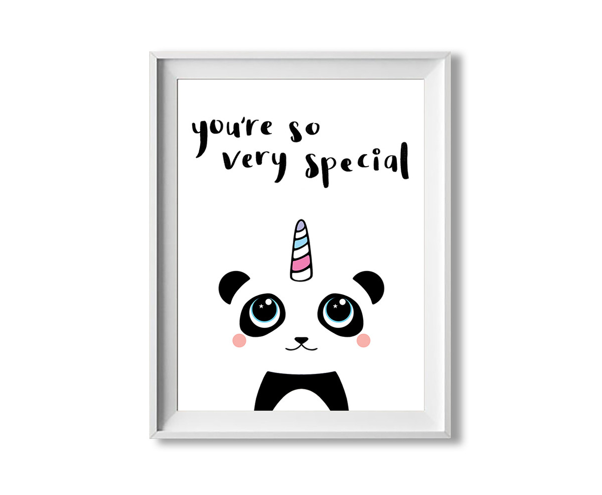 Panda art print - inspirational quote - kawaii pandicorn