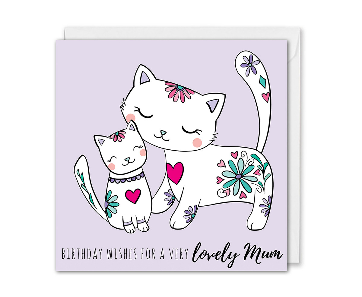 Mum Birthday Card Mummy Cat