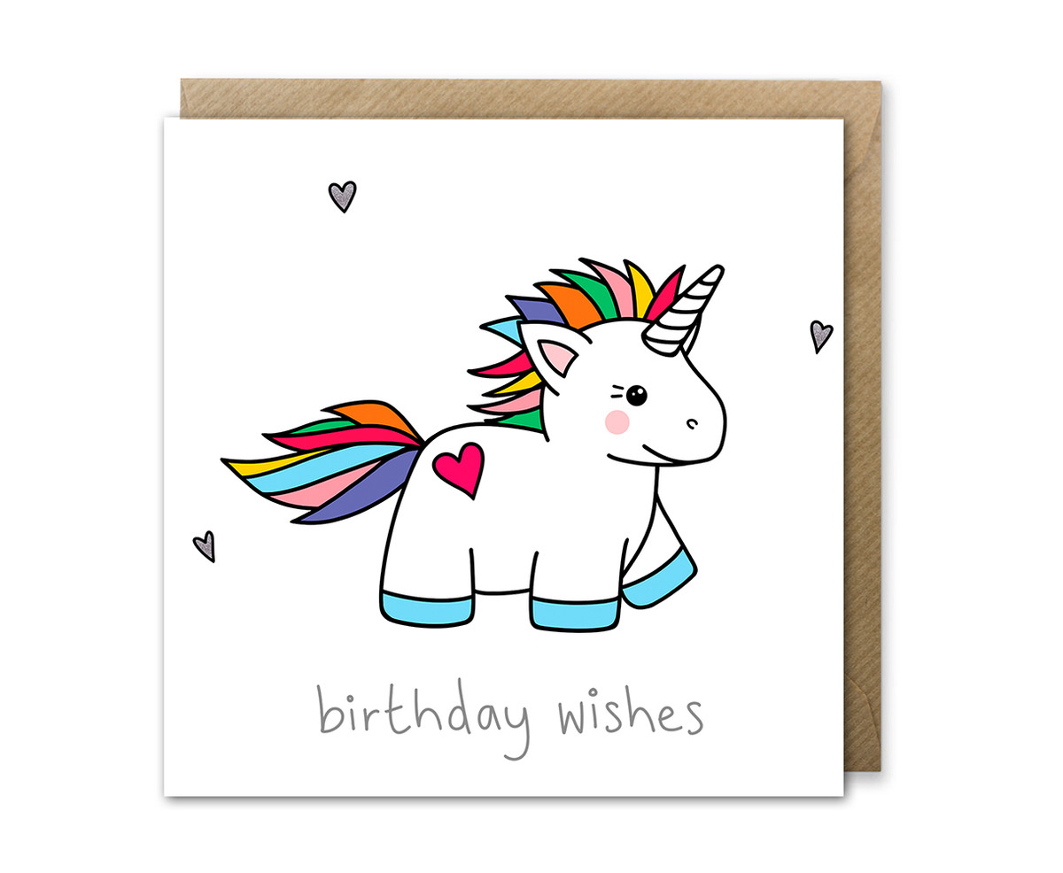 Rainbow Unicorn Birthday Card