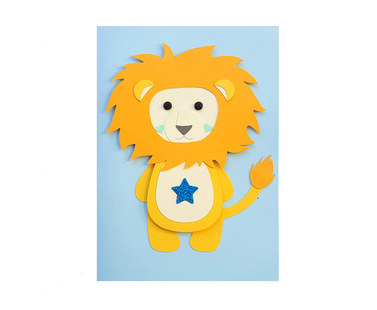 Handmade Lion Birthday Card Personalised Message/Age
