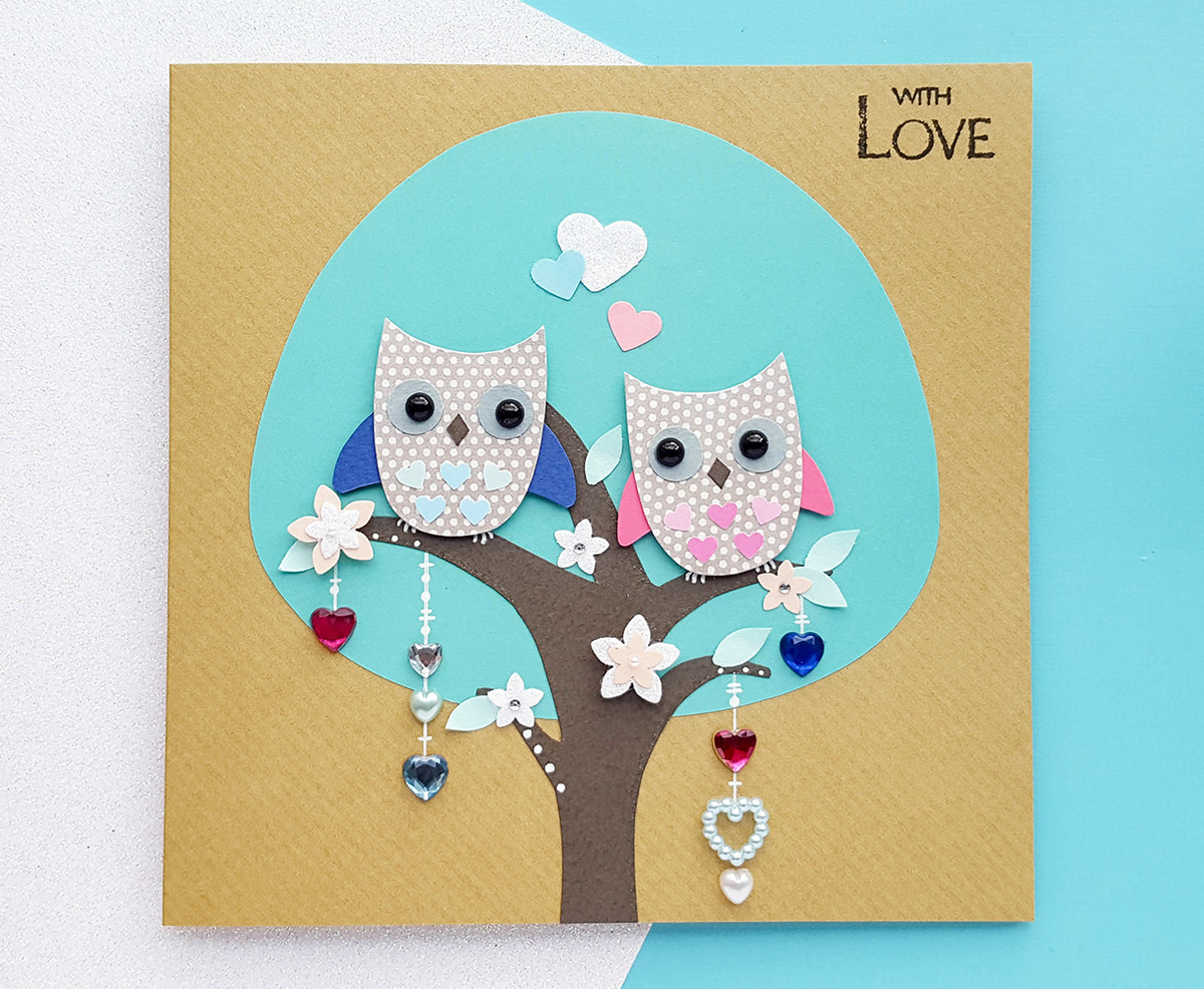 Personalised Owl Love Nest Anniversary Card