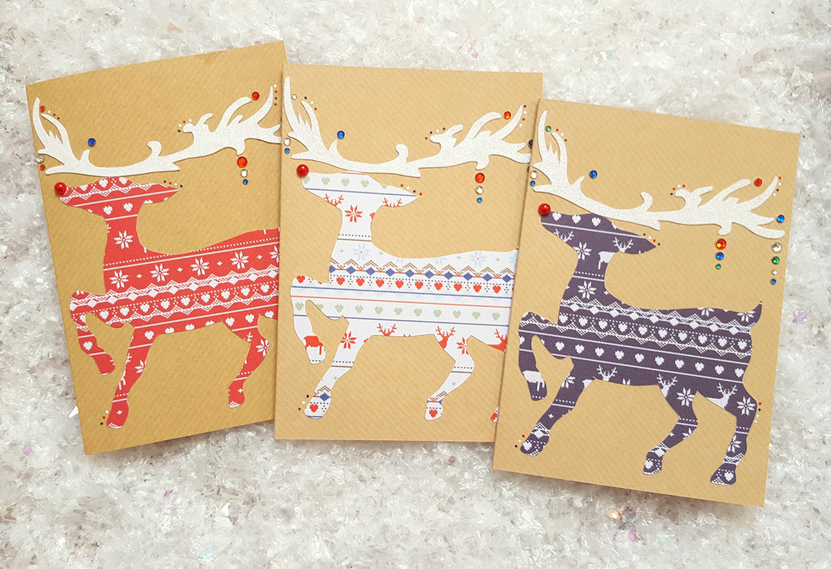 Handmade Christmas Card Images.Pack Of 3 Rudolph Reindeer Handmade Christmas Cards
