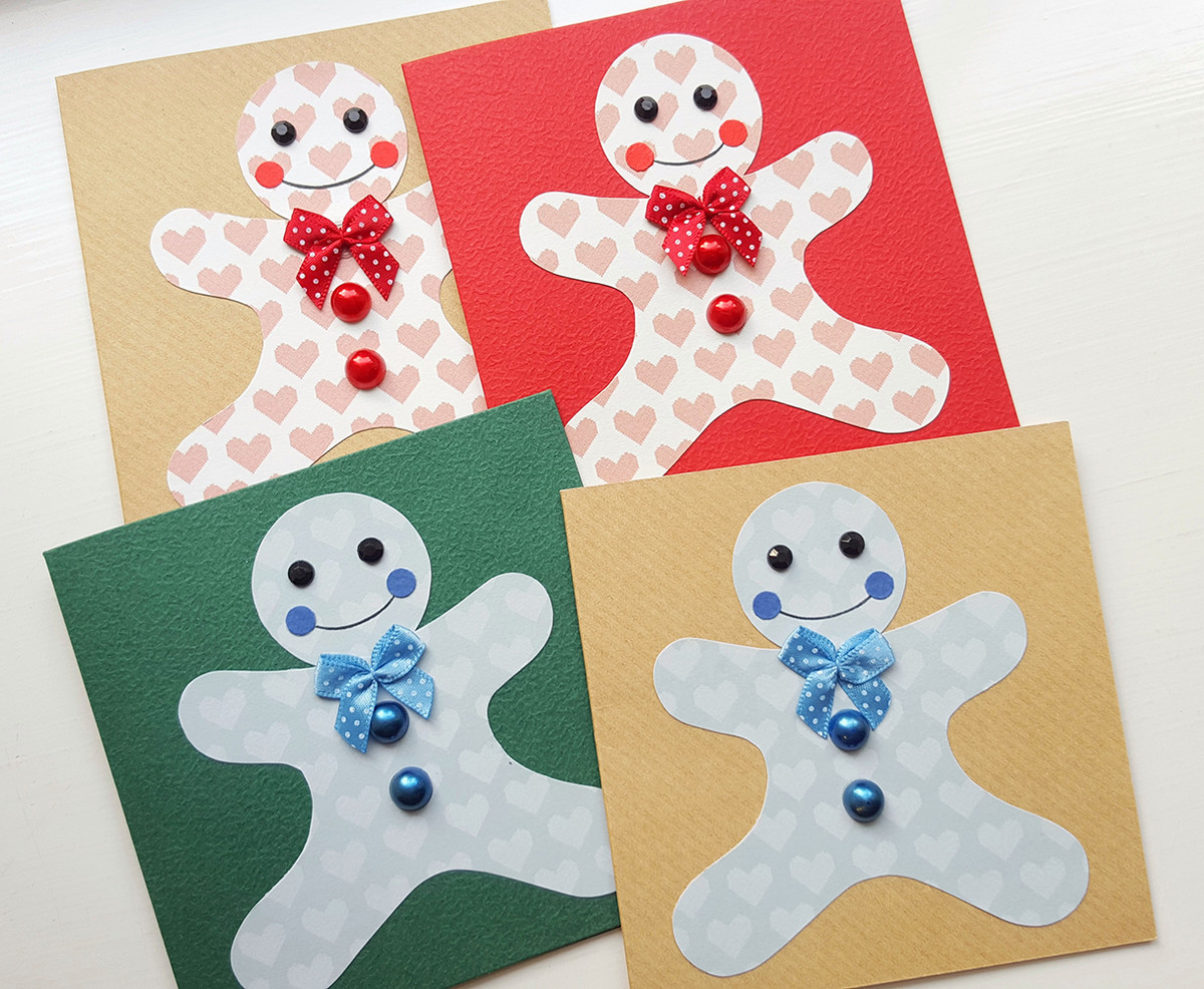 packs of christmas cards handmade gingerbread man