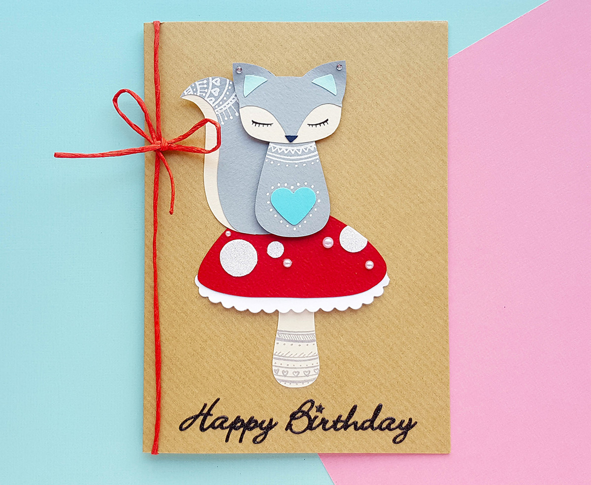 Personalised MOLLI Squirrel On Mushroom Birthday Card
