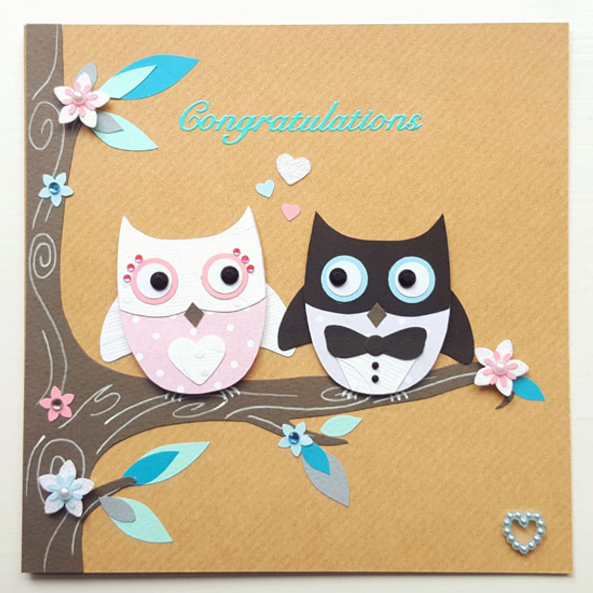 Personalised Handmade Owls Wedding Card