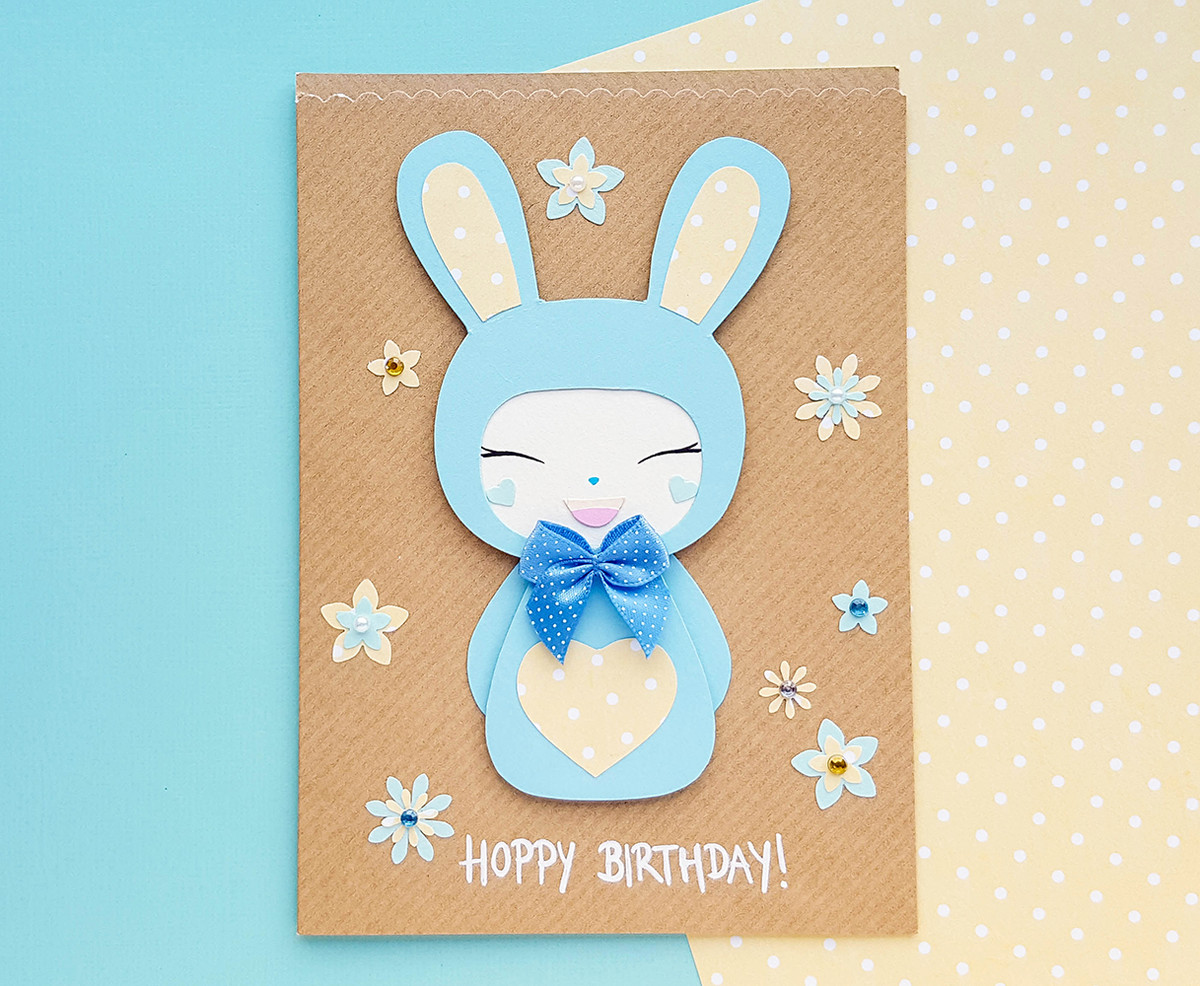 Outstanding Personalised Cute Bunny Handmade Birthday Card Kio Cards Funny Birthday Cards Online Fluifree Goldxyz