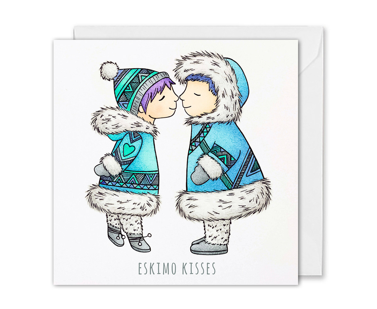 Eskimo Kisses Christmas Card - For Her - For Him