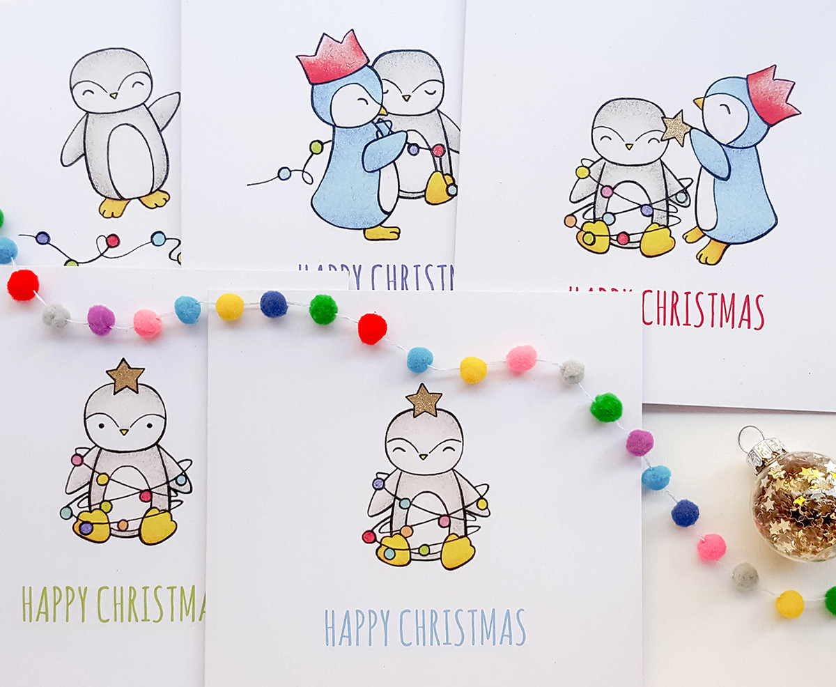Pack of 5 Penguin Tree Christmas Cards