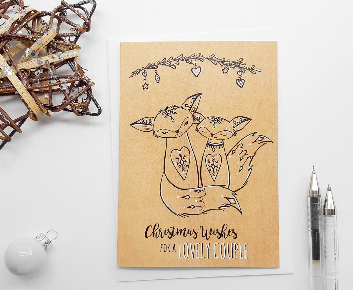 Christmas Card for Couple Hand Drawn Foxes