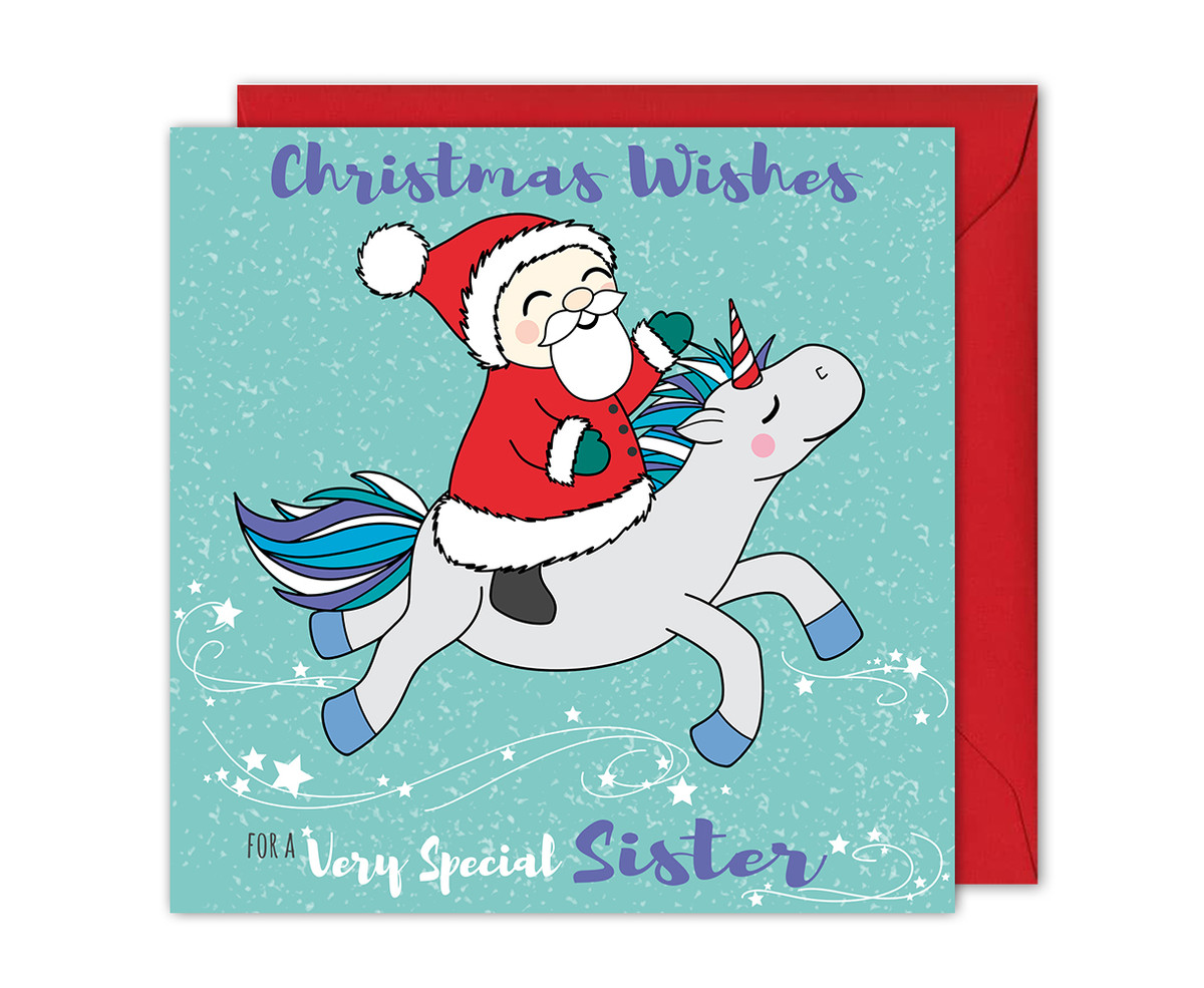 Santa and Unicorn Christmas Card For Sister