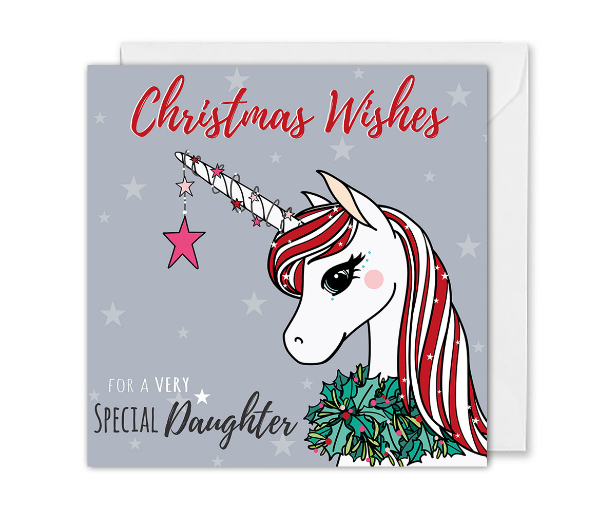Magical Unicorn Christmas Card For Daughter