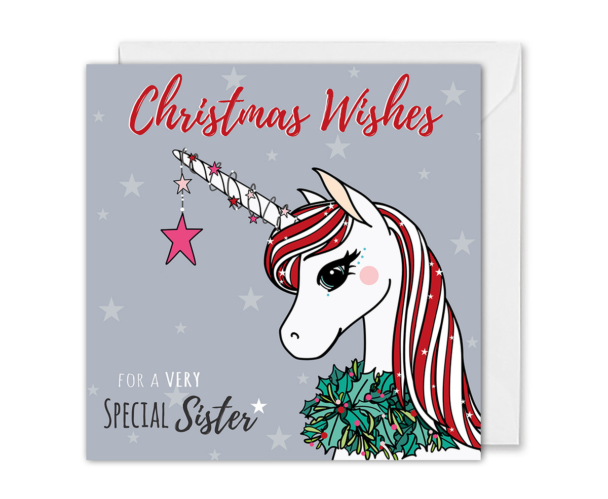 Magical Unicorn Christmas Card For Sister