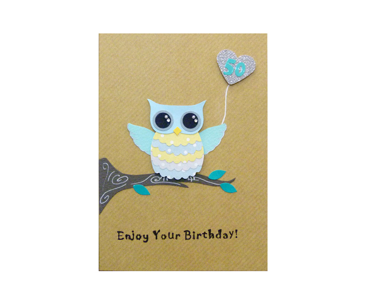 Handmade 50th Birthday Card Cute Owl
