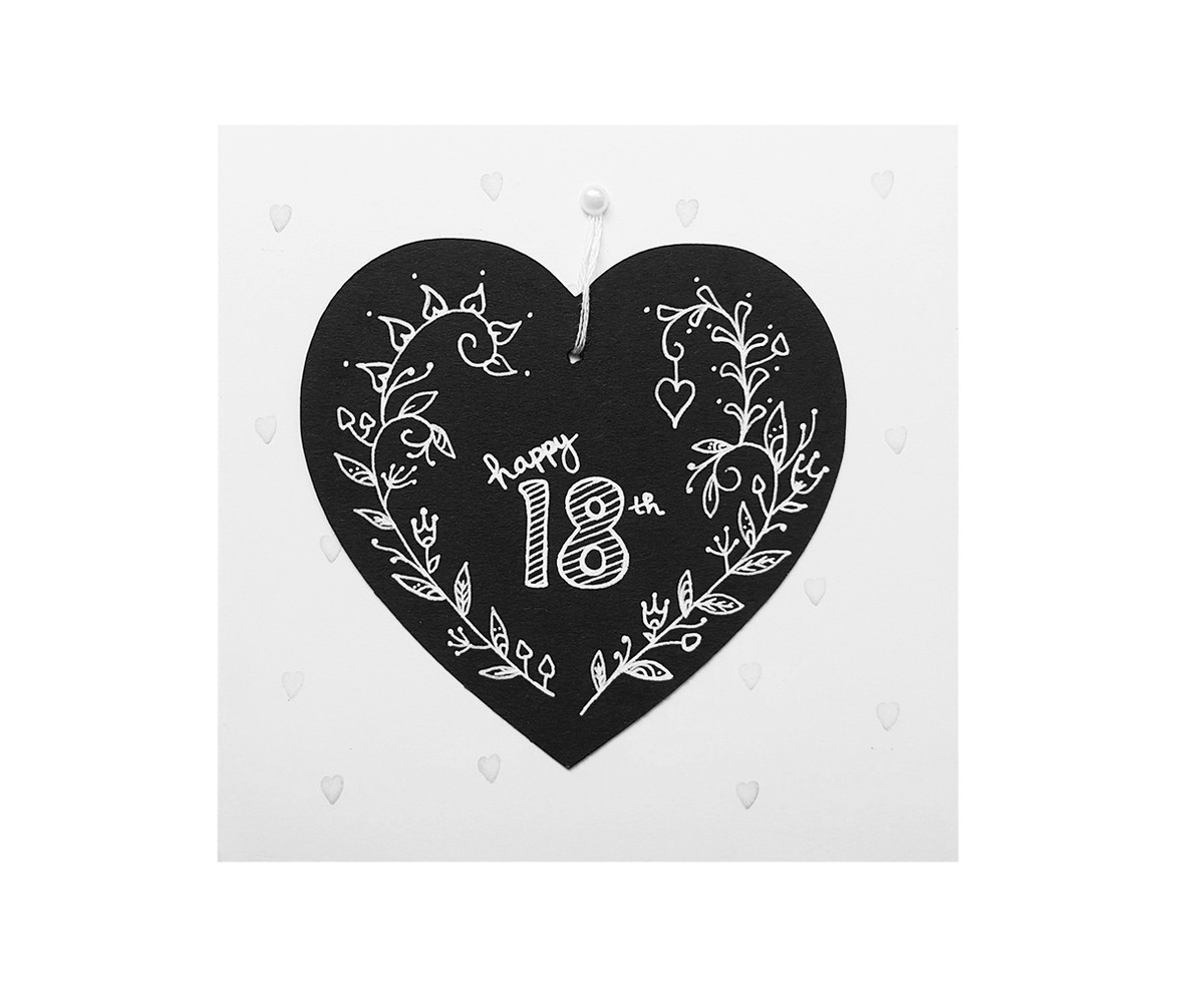 Hand drawn 18th birthday card chalkboard heart