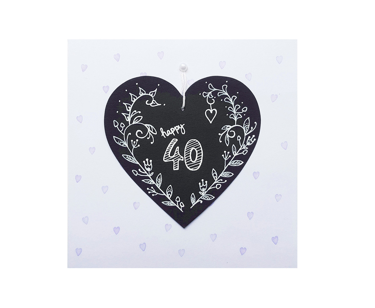 Hand Drawn Chalkboard Heart 40th Birthday Card