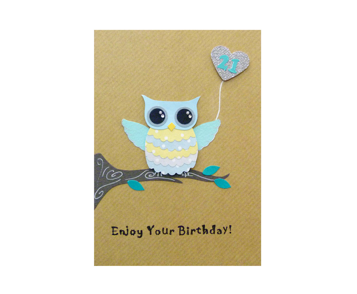 Fine Handmade 21St Birthday Card Cute Owl Kio Cards Funny Birthday Cards Online Fluifree Goldxyz