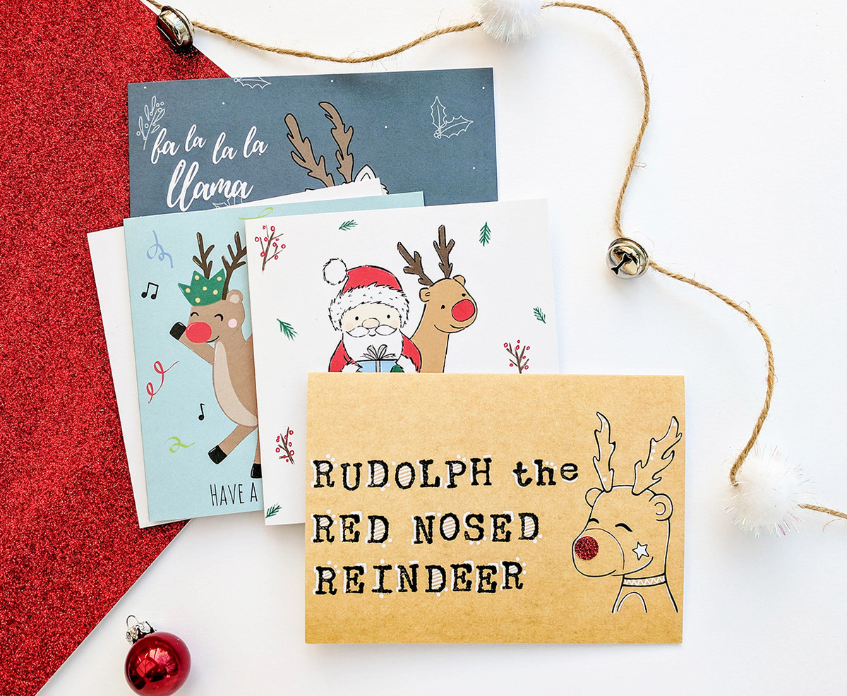 Reindeer Christmas Cards To Make.Multipack Of 6 Rudolph Christmas Cards