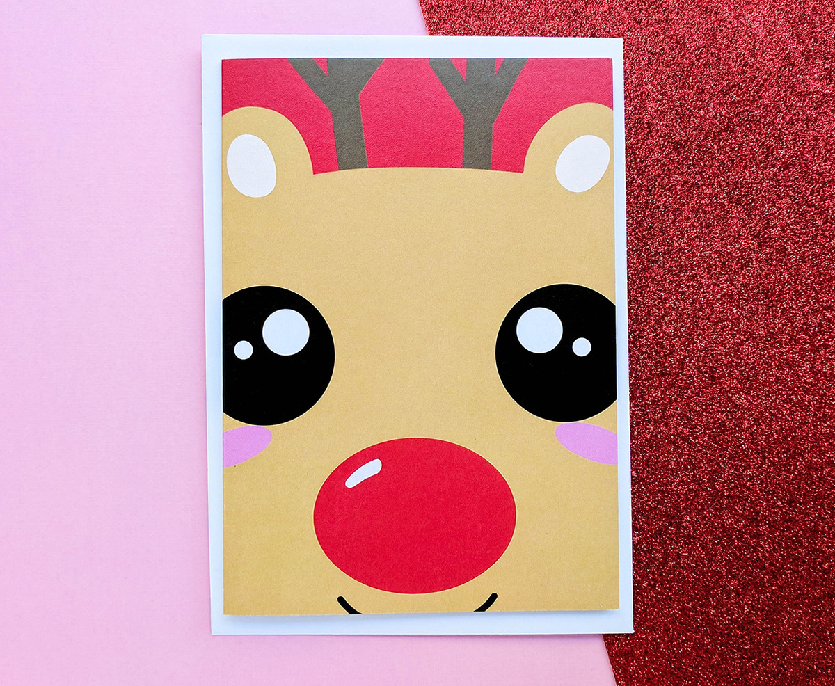 Kawaii Rudolph Christmas Card