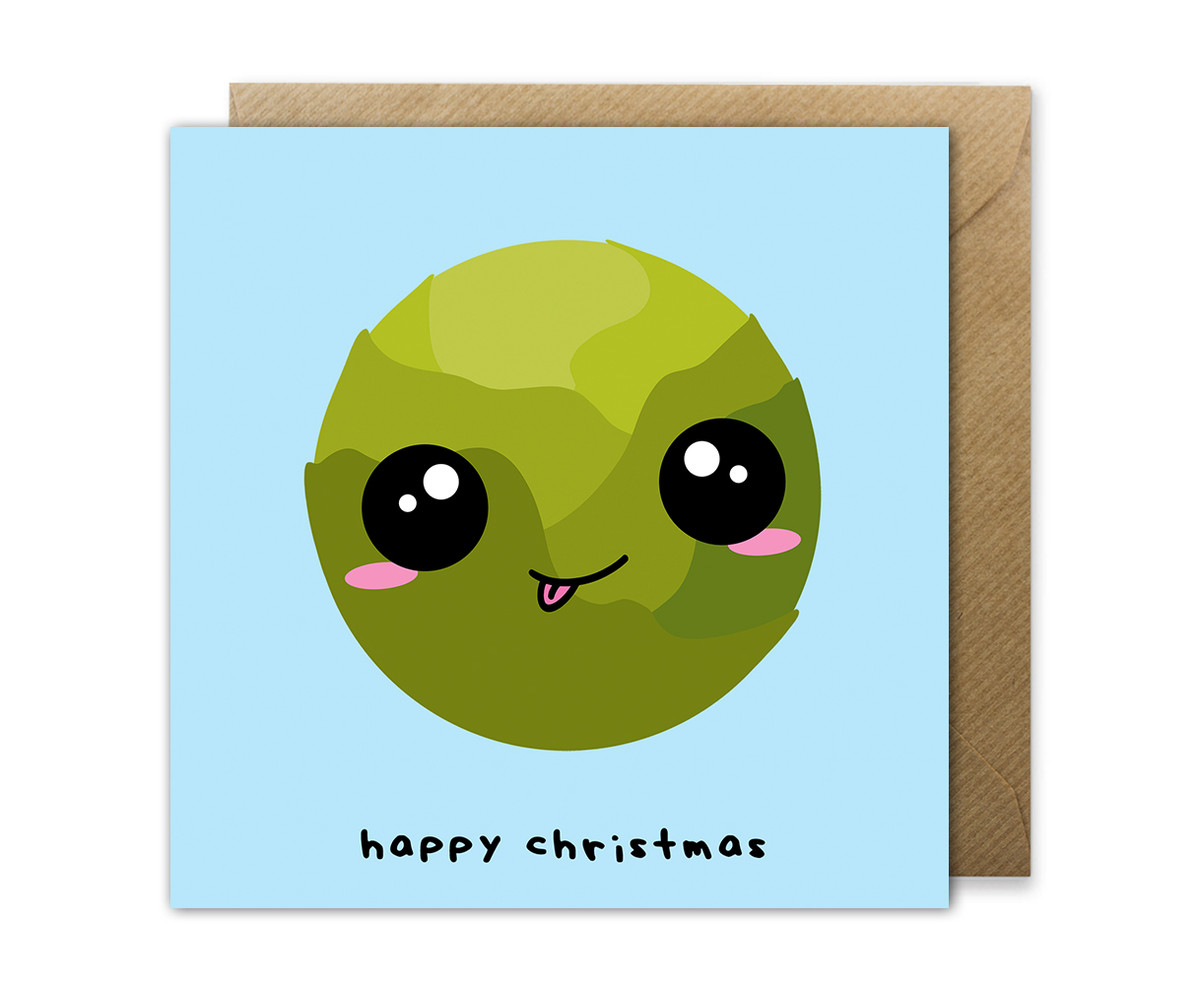 Cute Sprout Christmas Card Kawaii