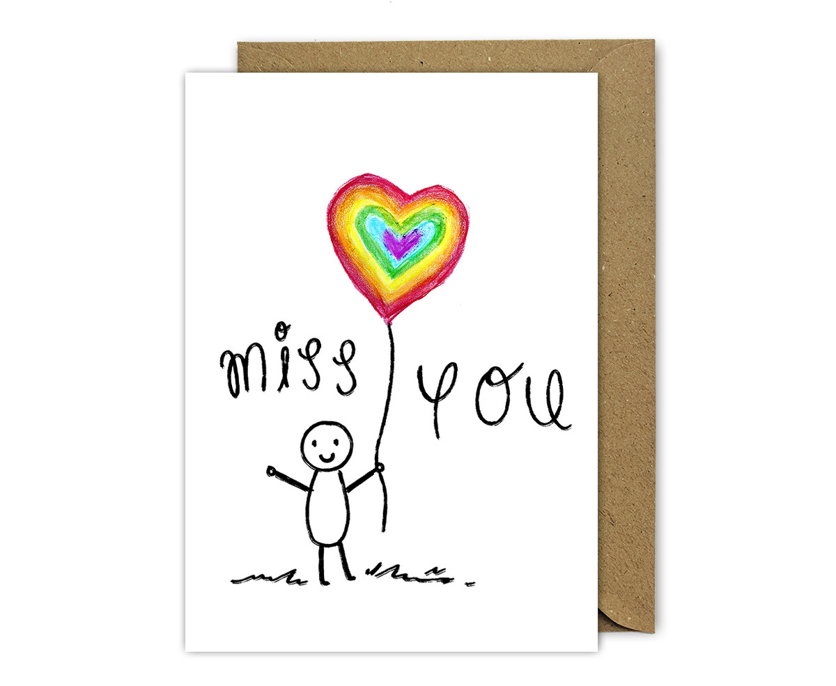 Rainbow Drawing Miss You Card