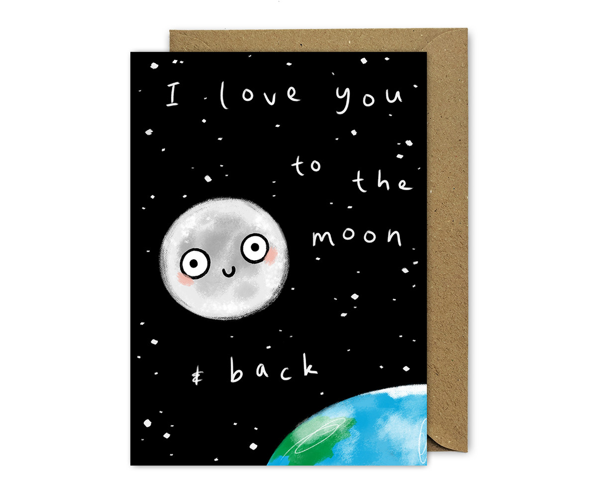 Love You To The Moon and Back Punny Card Anniversary