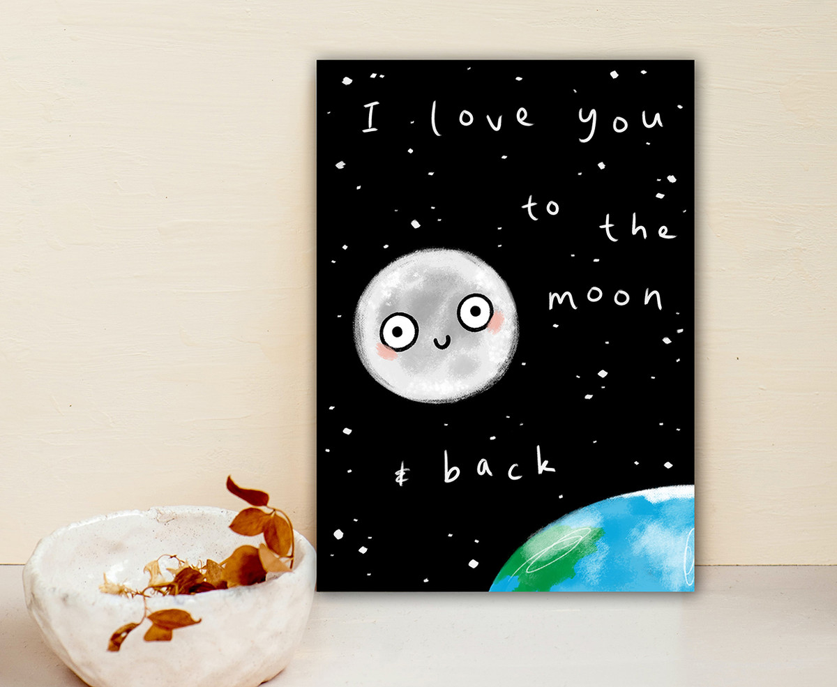Punny Love Card Moon and Back