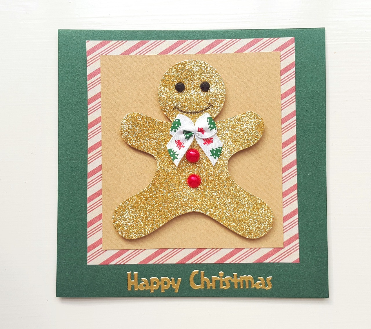 Handmade Christmas Card Glitter Gingerbread Man Kio Cards