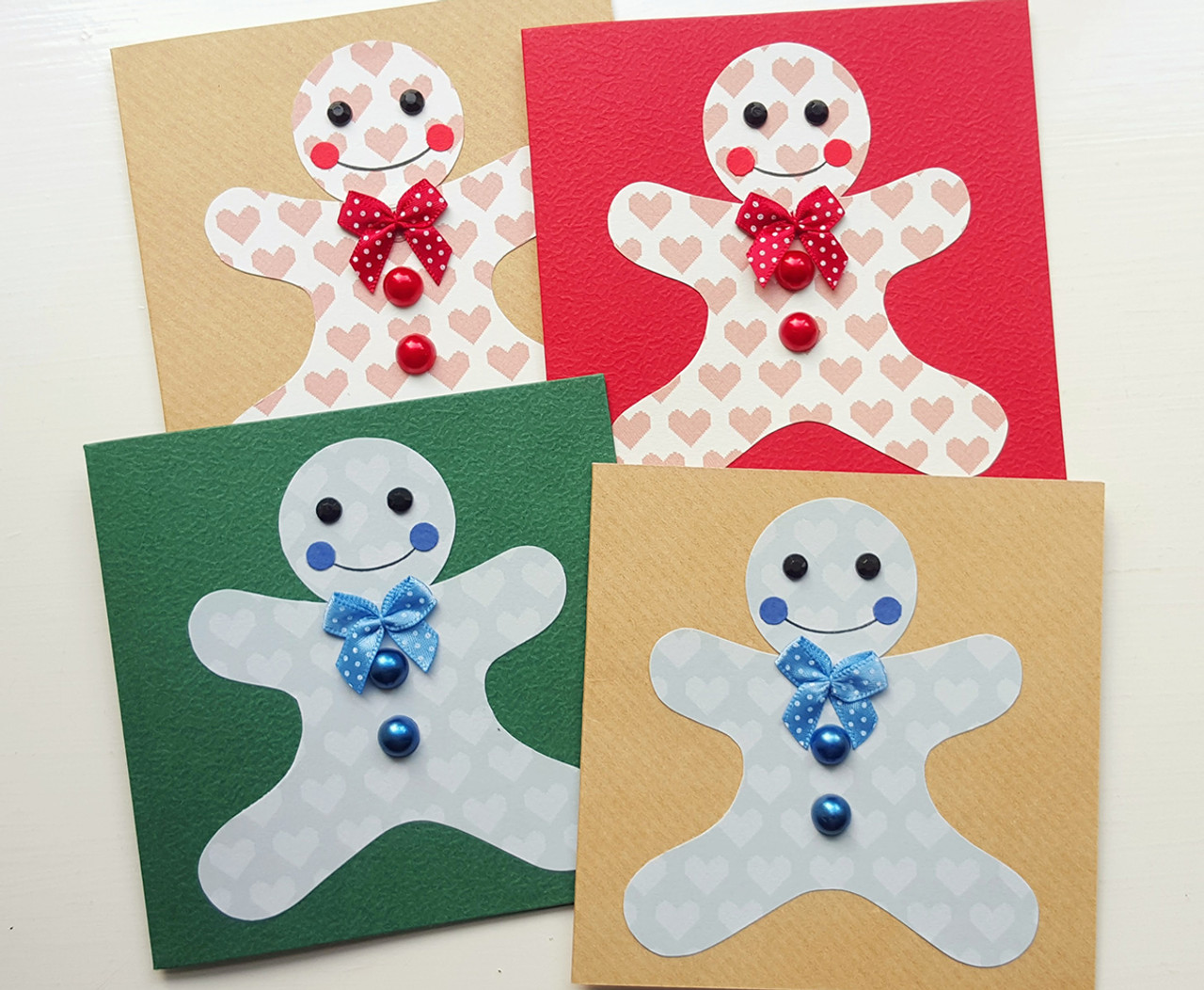 Pack Of 4 Handmade Christmas Cards Gingerbread Men Kio Cards