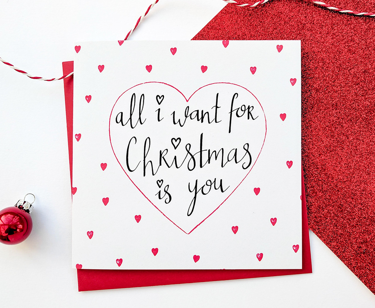Romantic Christmas Card - All I Want For Christmas Is You | KIO Cards