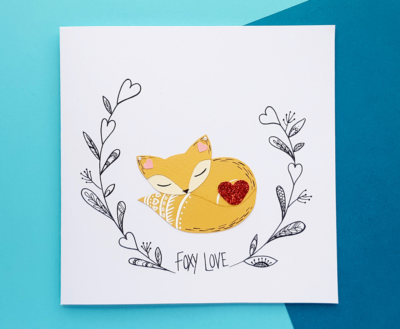 Handmade Romantic Birthday Card Cute Fox