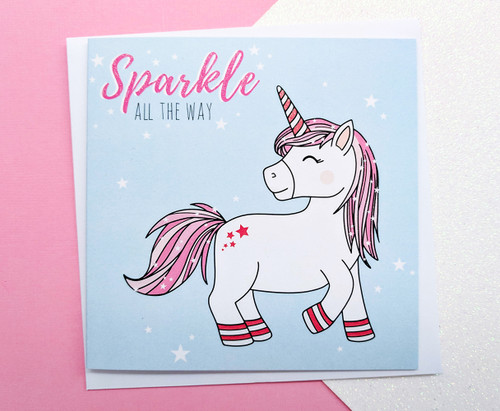 Glitter Unicorn Christmas Card Kawaii