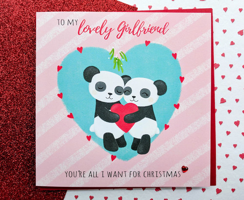 Girlfriend Christmas Card Cute Pandas