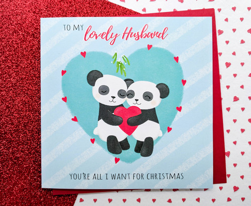 Husband Christmas Card Romantic Cute Pandas